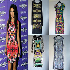 Summer Celebrity Bodycon Dresses Bright Animal Clearance
