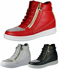 WOMENS WEDGE HEEL FAUX LEATHER HIGH TOP BOOTS LADIES ANKLE SNEAKER GIRLS TRAINER