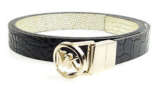 MICHAEL KORS Reversible Croc Metallic Lizard Logo Skinny Belt - Black/Gold