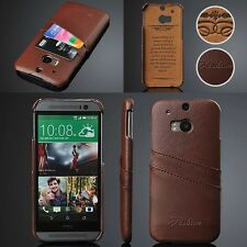 High Quality Genuine Real Leather Phone Case Fitted Cover Skin For HTC ONE M8