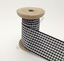 Berisfords Gingham (Small Check) Ribbon - 10 Black CHOOSE WIDTH & LENGTH