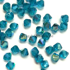 4mm Blue Zircon AB (229 AB) Swarovski crystal 5328 / 5301 Loose Bicone Beads