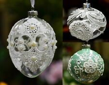 Christmas Tree Ornament Glass Ball with Laces, Bauble Onion Egg Clear Pink Aqua