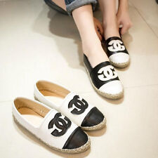 Fashion Black&White splicing loafers hemp rope casual flats women shoes