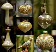 Collection of Various Gold Golden Color  Christmas Tree Ornaments Glass Ball