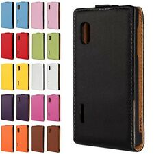 Luxury Genuine Leather Case Fitted Skin Cover Pouch For LG Optimus L5 E610 E612