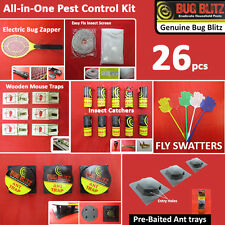 26 PC PEST CONTROL KIT Bait Roach Ant Wasp Flea Bug Swatter Zapper Traps Catcher