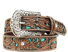 Ariat Womens Western Turquoise Inlay Tooled Leather Belt & Buckle-Brown A1513402