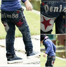 Factory Price Kid Boy Clothes Denim Jean Trouser Letter Pant Whitewashed Elastic