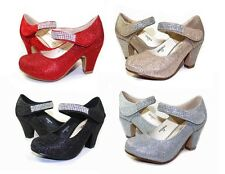 BARBARA04 Blink Wedding Church party Kid Toddler Youth Girl's 2 inch Heel Shoes