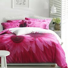 Pink Sunflower 100% Cotton Queen King Size Bed Quilt Duvet Cover Bedding Set