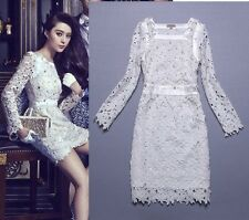 2014new arrival Europe and America fashion Sexy slim Water soluble flowers Dress