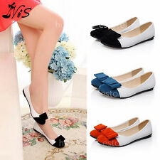 New Women Ladies Bow Flat Prom Shoes Ballet Ballerina Casual Dolly Pumps Leather