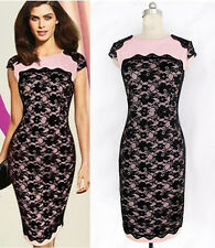 Sexy Lady Office Wear Business Evening Cocktail Party Pub Lace Splicing Dress