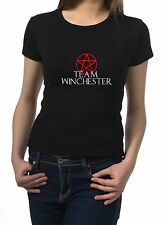 TEAM WINCHESTER...Ladies Black T-Shirt...Slogan/Cult/Super Natural
