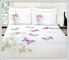 280TC White Stone Pink Butterfly Embro KING QUEEN & SINGLE QUILT DOONA COVER SET