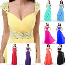 Cap Sleeves Chiffon Long Formal Prom Dress Party Bridesmaid Evening Gown Stock
