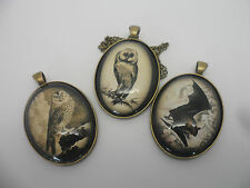 Vintage Bronze Owl Bat Necklace,Halloween Collection,Glass Cameo Pendant +chain