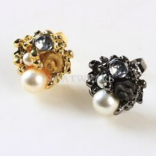 2 Color Fashion Dazzling Crystal Lovely Rose Flower Imitate Pearl Rings MUK