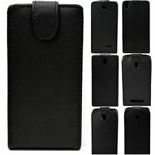 Vertical Flip Leather Black Hard Full Cover Case Skin Holster For HTC Desire