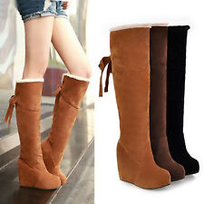 New Winter Fur Lining Tall Womens Boots Fashion Knee High Platform Wedge Boots