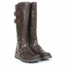 Fly London Women's Solv Rug Leather Zip Up / Double Buckle Boot Dark Brown