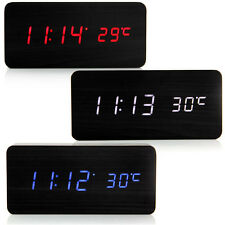 New Modern Wooden LED Display Digital Alarm Desk Clock With Thermometer