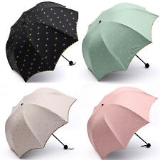 Bowknot wavy edge Sun rain Compact Folding umbrella Anti UV Parasol Multi color