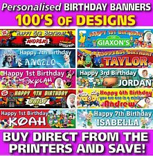 Personalised Children kids Birthday Vinyl Banners 100's of designs with eyelets