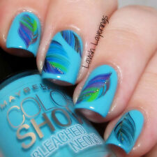 Eye-catching Flying Colored Feather Pattern Nail Art Water Decals Transfers 99p