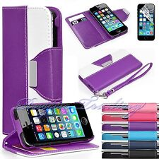 Flip Hybrid PU Leather Wallet Case Stand Cover For Apple iPhone 5 5S + Free Film