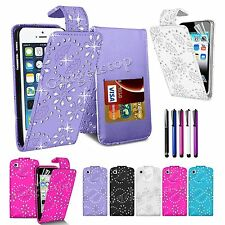 Diamond Bling Glitter Leather Flip Case Cover For iPhone 5 5S 5c iPod Touch 4