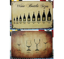 Types of Wine Bottles Glasses Metal Tin Sign Cellar Wall Decor Vineyard Display
