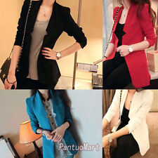 Midi Pattern Slim Women Jacket Blazer Coats Shoulder Padding Front Open 13783