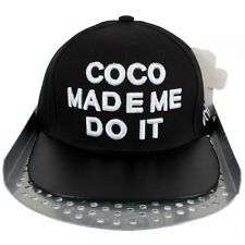Coco Made Me Do It Snapback Faux Leather Peak Cap Hip Is Hop Money Time Hat