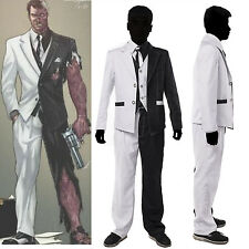 Two-Face Costume Arkham City Black White Two Face Harvey Dent Cosplay Suit