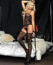 All-in-One Floral Bouquet Lace Bustier with Fence Net Panel & Attached Stockings