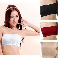 Women Lady Strapless Boob Tube Top Removable Padded Bandeau Bra 4 Colors New