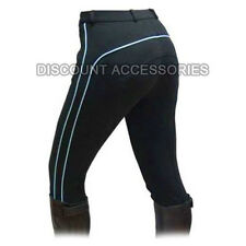 HORSE RIDING LADIES SOFT STRETCHY JODHPURS/JODPHURS JODS BLACK WITH BLUE PIPING