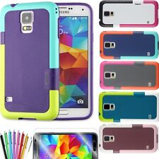 TPU+PC colorful hybrid  slim Case Cover For smart Samsung Galaxy S5 Film+pen