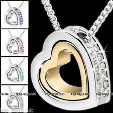 Twin Heart Diamond Necklace Pendant Romantic Love Present Gift for her Girl Wife