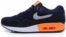 Nike Air Max 1 Premium suede navy blue & orange trainers 512033 400