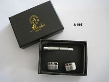 Amedeo Exclusive Tie Clip & Cufflink Set Stainless Steel New Silver 2012 A-066