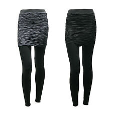 Womens Ladies Pleated slim mini skirt leggings Black, Charcoal