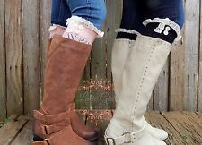 USA Seller Fast ship Lace Trimmed Boot Cuffs Several Colors Pink Black beige