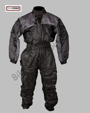 Black Elasticated Waterproof Lined Quality All In One Rain Over Suit Motorbike