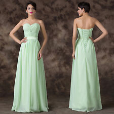 2014 Pleated Chiffon Long Ballgown Evening Prom Party Bridesmaid Dress Size 2-16