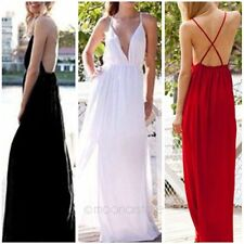 Fashion Sexy Deep V neck Backless Evening Ball Prom Party Long Maxi Beach Dress