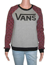 Vans Charmed Crew Grey/Red/Black Geometric Womens Long Sleeve Sweat,Skate,Casual