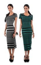 Ladies Elegant Stripe Faux Leather Shoulder Tailored Midi Formal Winter Dress